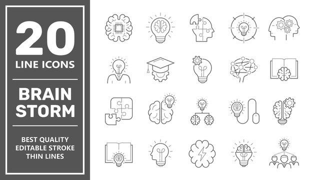 Brainstorming line icons set. Set of brainstorm icons such as Artificial light, brain, lightbulb, creativity, brainstorming, brain, creativity, novel idea, brainstorm. Editable Stroke. EPS 10.
