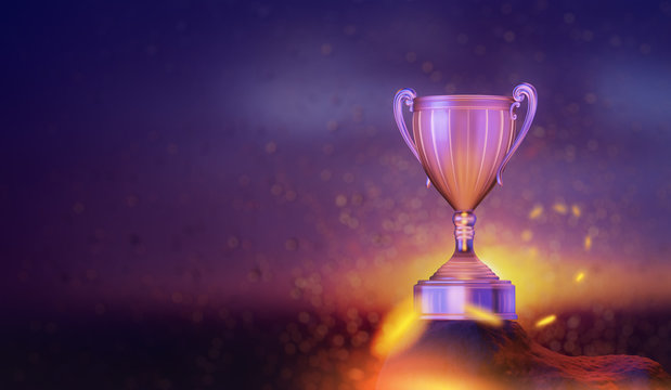 winner cup in the sunset sky background, 3D illustration