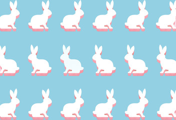 Easter white bunny flat lay pattern on bright blue background with hard shadows, wallpaper, greeting card, top view