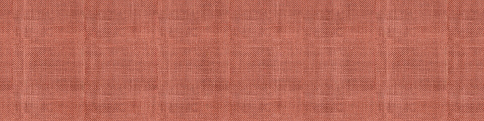 Close-up long and wide texture of natural weave cloth in pink or coral color. Fabric texture of...