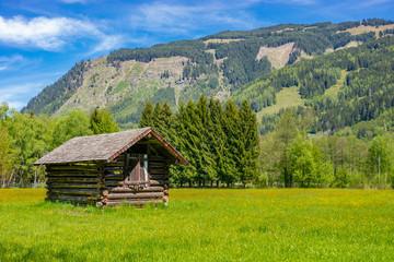 Holzhütte auf einer Wiese im Gebirge Wall mural