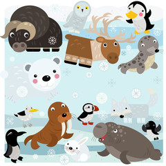 cartoon north pole scene with different animals on ice illustration