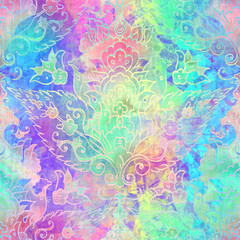 Keuken foto achterwand Kunstmatig Holographic foil vivid trendy seamless turkish motif pattern. Opalescent psychedelic design in pastel rainbow colors. Cosmic futuristic iridescent graphic swatch.