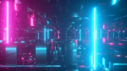 Flying in a technological abstract space with luminous neon tubes. Cyberpunk style. Modern ultraviolet spectrum of light. Blue purple color. 3d illustration