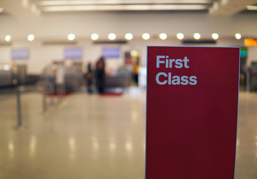 Airport Terminal Gate First Class Sign No Wait In Line