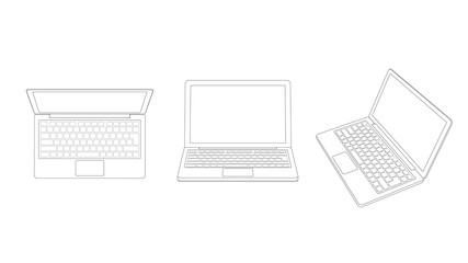 Portable laptop computer (Line drawing)