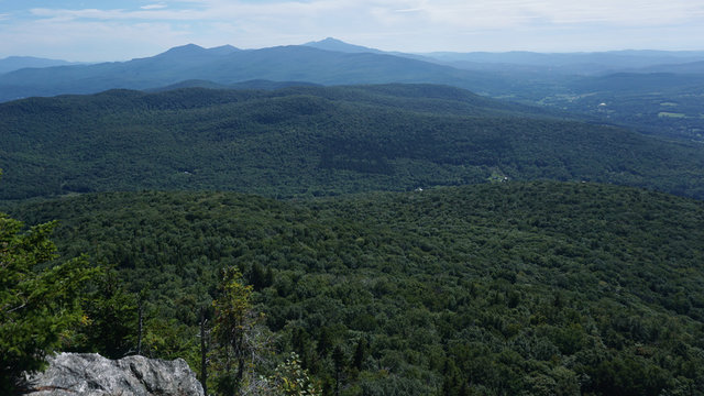 A scenic view from the Laraway Mountain Overlook towards Mount Mansfield and  Camel's Hump on the Long Trail in Vermont.