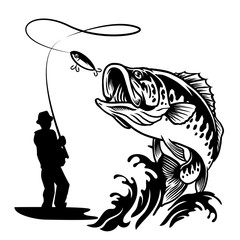 fisherman catching the big bass fish in black and white style