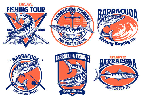 set of barracuda fishing badge design