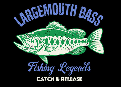 shirt design of largemouth bass fishing with texture