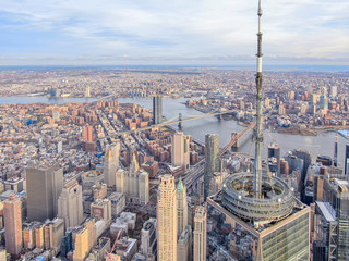 New York City WTC with East River in daytime, aerial photography