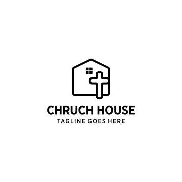 Modern church house logo sign modern vector graphic abstract