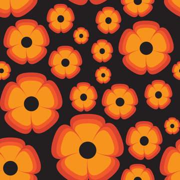 Vector Retro Orange flower on black background pattern. Perfect for fabric, wallpaper or scrapbooking.