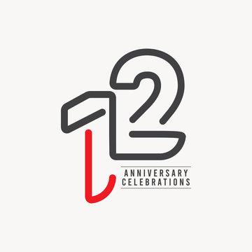 12 Years Anniversary Celebration Vector Template Design Illustration