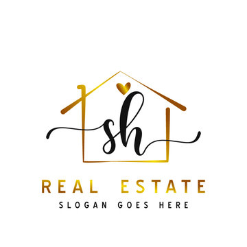 Initial handwriting SH with Real estate logo concept, real estate logo, real estate branding.