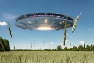 Poster UFO UFO, an alien plate hovering over the field, hovering motionless in the air. Unidentified flying object, alien invasion, extraterrestrial life, space travel, humanoid spaceship. mixed medium