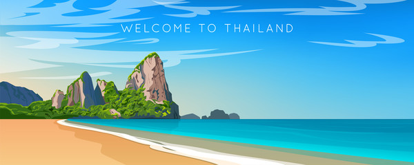 Fotorolgordijn Blauw Thailand. Phuket landscape. Wide panorama. Mountains, beach and ocean. Vector illustration