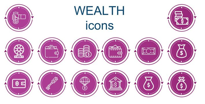 Editable 14 wealth icons for web and mobile