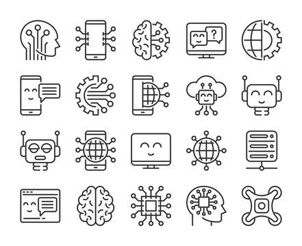 Artificial intelligence icons. Innovation technology and artificial intelligence line icon set. Vector illustration. Editable stroke.