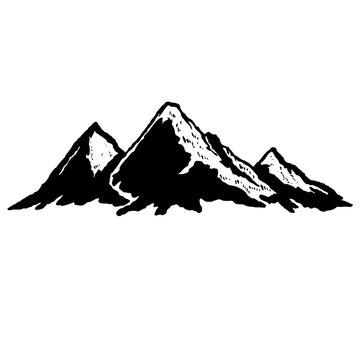 Illustration of mountains in vintage style. Design element for logo, label, sign, poster, t shirt. Vector illustration