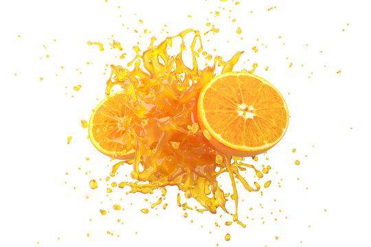 Explosion Orange juice liquid with Orange fruit on white background. 3D Render.