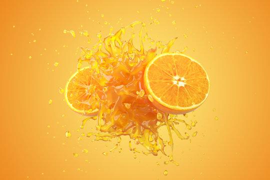 Explosion Orange juice liquid with Orange fruit on yellow background. 3D Render.