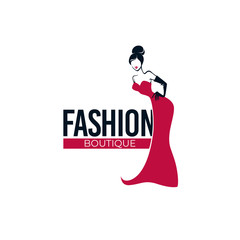 Retro Fashion, lady in red dress, fashion store, salon, boutique logo and emblem