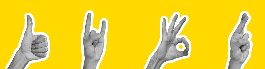 Collage in magazine style with hands showing different gestures on yellow background