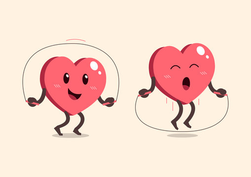 Cartoon heart character jumping rope for design.
