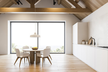 Wooden roof kitchen with countertops and table