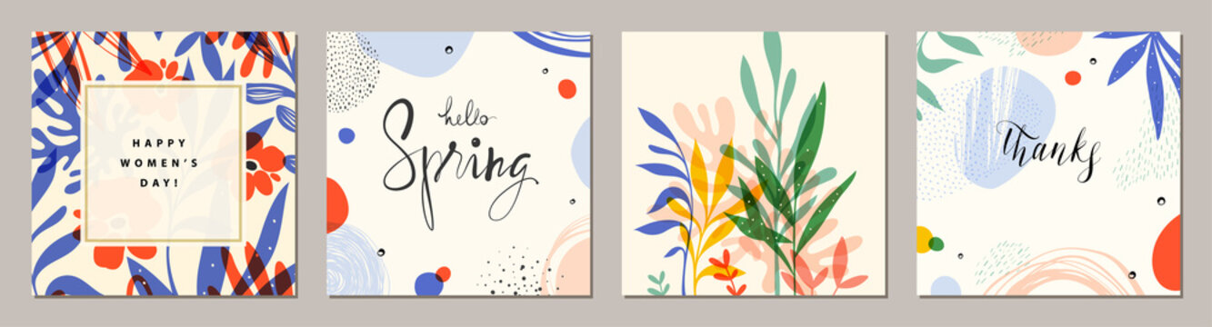 Happy Women's Day. Hello Spring. Trendy abstract square art templates. Suitable for social media posts, mobile apps, banners design and web/internet ads.