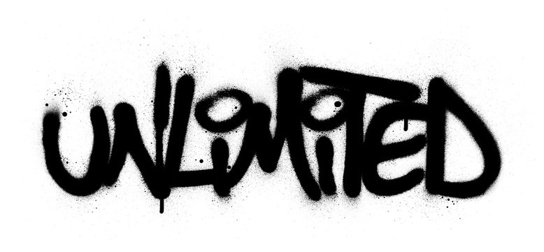 graffti unlimited word sprayed in black over white
