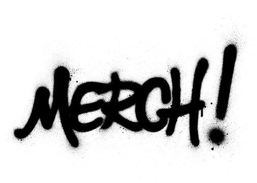 graffiti merch word sprayed in black over white