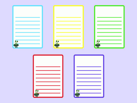 Set of UFO and aliens linned sheets. Green, yellow, red, violet, blue blank. Collection of various vector note cartoon papers. For notes, lists, plans, letters and to-do lists.