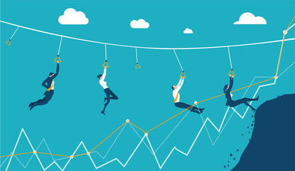 Business people jumping over the canyon. Risk and competition in modern business life