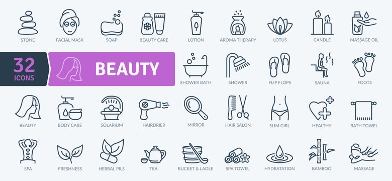 Beauty Icons Pack. Thin line icons set. Flaticon collection set. Simple vector icons