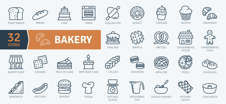 Bakery Icons Pack. Thin line icons set. Flaticon collection set. Simple vector icons