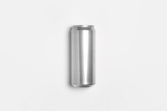 Aluminum silver Soda Can Mock-up isolated on light gray background.High resolution photo.Top view.