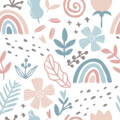 Rainbow floral seamless pattern. Abstract tile in hand-drawn simple doodle cartoon style. Scandinavian vector illustration in pink-blue pastel palette