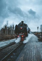 old steam train in Karelia