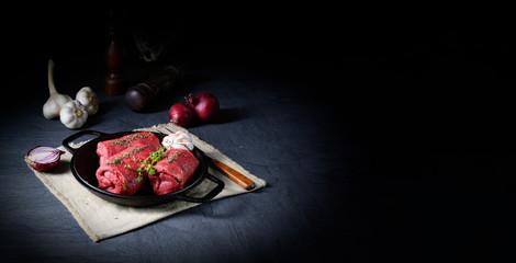 Keuken foto achterwand Vlees raw beef roulades prepared for cooking