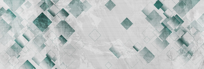 Blue and grey grunge squares abstract banner design. Geometric tech vector background