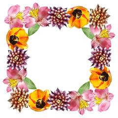 Fototapete - Beautiful floral pattern of guzmania, tulip and alstroemeria. Isolated