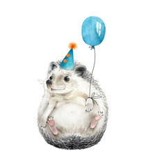hedgehog cute animal with a balloon and a festive cap on his head, isolated illustration watercolor for birthday