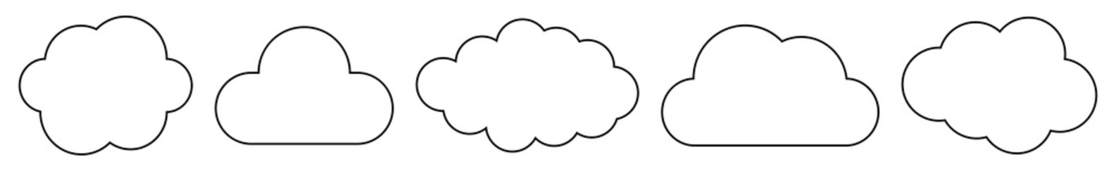 Cloud Icon Black Line | Clouds Illustration | Weather Climate Symbol | Computing Storage Logo | Cartoon Bubble Sign | Isolated | Variations
