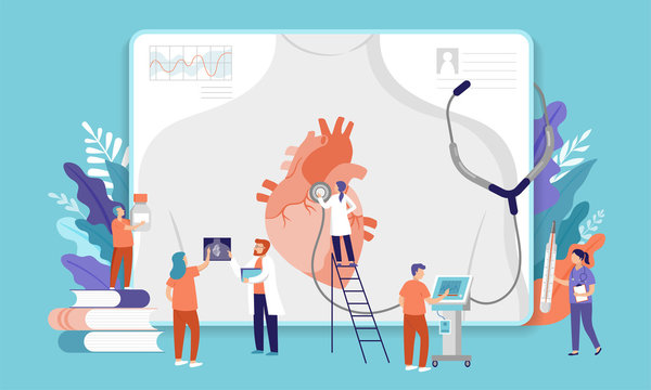 Research scientist. Science laboratory, chemistry scientists and clinical lab. Medical research items, clinical science laboratories experiments. Heart, cardiac problem, concept vector illustration
