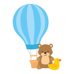 balloon travel hot with teddy bear and duck rubber vector illustration design