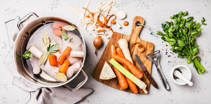 Cooking - chicken stock (broth or bouillon) with vegetables