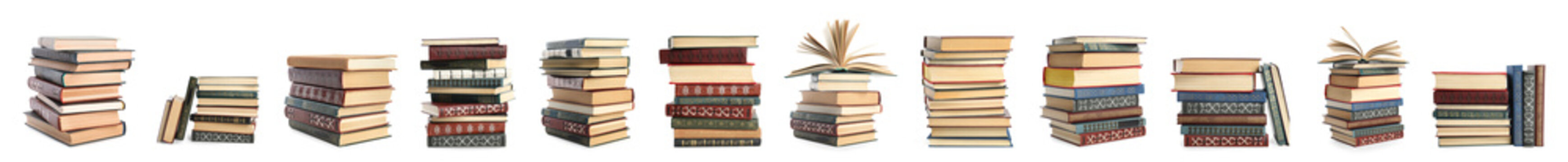 Collection of different retro books on white background. Banner design