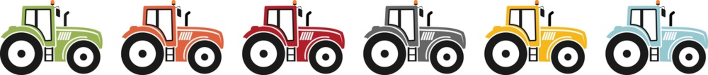 Coloured icon of a tractor for agriculture
